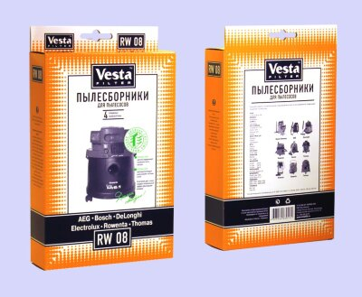 Пылесборники Vesta RW 08 Rowenta: Turbo Bully, Clean Wash, Collecto, Enduro, Hobby Vac 1000, 